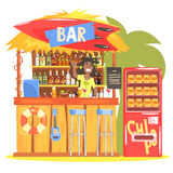 Beach Bar In Tropical Style Design With Smiling Resta Barman Stock Images