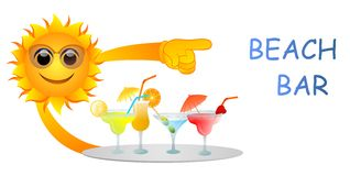 Beach bar. Vector illustration of sun with plate full of cocktails pointing at beach bar sign Stock Photo