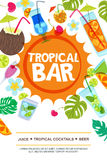 Beach bar vector menu or flyer layout. Sun, palm leaves and cocktails doodle illustration. Royalty Free Stock Photography