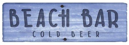 Beach Bar Wooden Plaque Sign vintage cocktails. Beach Bar Wooden Plaque Sign old rustic blue hand carved cold beer brews cocktails royalty free illustration