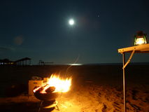 Beach at barbeque night. Barbeque lonely on the beach fit open fireplace Stock Photography