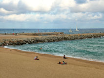 Beach in Barcelona in autumn, Spain Stock Images