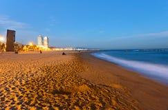 Beach in Barcelona at dawn Stock Photo