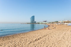 Beach in the Barcelona district Barceloneta Royalty Free Stock Images