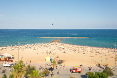 Beach in the Barcelona district Barceloneta Royalty Free Stock Photography