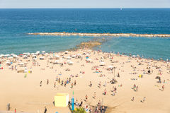 Beach in the Barcelona district Barceloneta Royalty Free Stock Photos