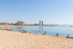 Beach in the Barcelona district Barceloneta Stock Image