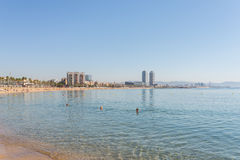 Beach in the Barcelona district Barceloneta Stock Photography