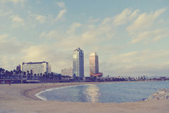 Beach in Barcelona in early autumn Royalty Free Stock Images