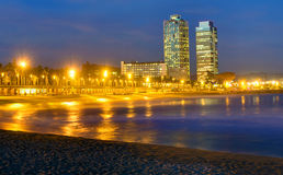 Beach in Barcelona at night Royalty Free Stock Photo