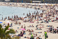 Beach of Barcelona in summer Stock Images