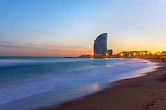 The beach of Barcelona at sunset Royalty Free Stock Photos