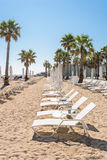 Beach in the Barceloneta district of Barcelona Royalty Free Stock Photos