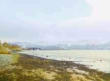 Beach and Barmouth Viaduct royalty free stock photos