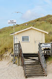 Beach basket rent station. A beach basket rent station at the island of sylt in germany stock photos