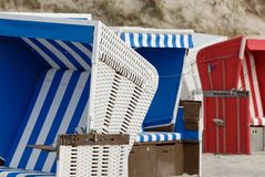 Beach baskets. Some beach baskets at the beach of sylt in germany stock photography