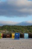 Beach baskets. On the beach of Helgoland Stock Photos