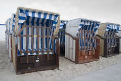 Beach baskets. Some beach baskets in travemuende, germany Stock Photos