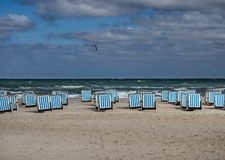 Beach baskets on a windy day in Warnemunde at the Baltic Sea, Ge Stock Photos