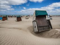 Beach baskets on a windy day in Warnemunde at the Baltic Sea, Ge Royalty Free Stock Photography