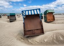 Beach baskets on a windy day in Warnemunde at the Baltic Sea, Ge Royalty Free Stock Image