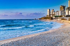 Beach, Bat Yam coast, Israel Stock Photos