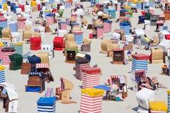 Beach with bath tents Stock Photos