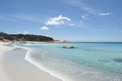 Beach at Bay of Fires Tasmania coast. Beautiful white beach with turquoise clear water of Pacific Ocean at Bay of Fires near St Helens, popular holiday Royalty Free Stock Photography