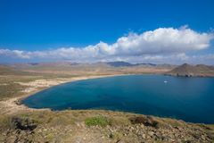 Beach and bay of Genoveses from top of mountain in Cabo de Gata stock photos