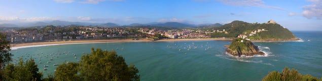 Beach and bay of La Concha in the city of Donostia. Gipuzkoa, Spain royalty free stock photo