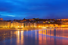 Beach of  Bay of La Concha in   San Sebastian. Spain Royalty Free Stock Image