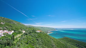 Beach bay in Portinho da Arrabida from top stock video