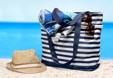 Beach. Bag group of objects  bag  towel summer towel Stock Image