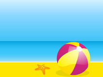Beach and beach ball Royalty Free Stock Photos