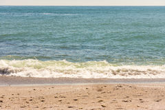 Beach beach of the Black Sea in the Bulgarian city of Pomorie Stock Photography