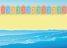 Beach with beach huts. An illustration of a beach with beach huts Royalty Free Stock Photo