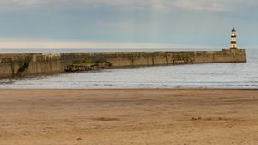 Seaham, County Durham, UK. Beach and beacon in Seaham, County Durham, UK Stock Photos