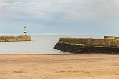 Seaham, County Durham, UK. Beach and beacon in Seaham, County Durham, UK Stock Photo