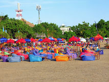 Beach bean bags and umbrellas Royalty Free Stock Photography