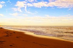 Beach and beautiful cloudy blue sky Royalty Free Stock Images