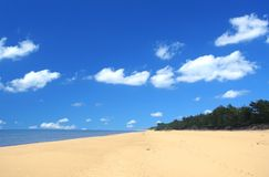 Beach with beautiful cumulus. Summer empty beach with beautiful cumulus clouds Stock Photos
