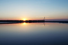 Beach at beautiful sunset, Wangerooge, Germany. Royalty Free Stock Photos