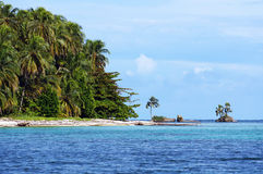 Beach with beautiful vegetation in Panama. Beach with beautiful vegetation in Zapatillas Keys, two islands located  in the Bocas del Toro archipelago, Caribbean Royalty Free Stock Image