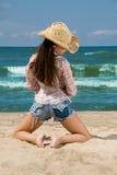 Beach Beauty. Beautiful young woman posing at the beach stock photo