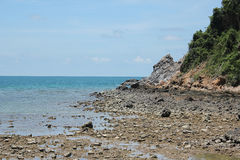 Beach beauty and blue sky. On vacation at the bright sky Beachside Chonburi, Thailand Royalty Free Stock Photography