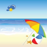 Beach beauty cartoon art vector Royalty Free Stock Photography