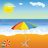Beach beauty with umbrella vector. Illustration on a color Royalty Free Stock Images