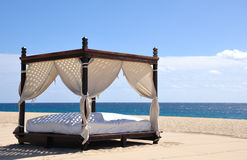 Beach Bed. Bed on the beach in Cabo San Lucas, Baja California, Mexico Stock Photography