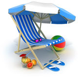 Beach bed and tent Royalty Free Stock Photography