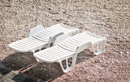 Beach bed or chair relaxation Stock Photography